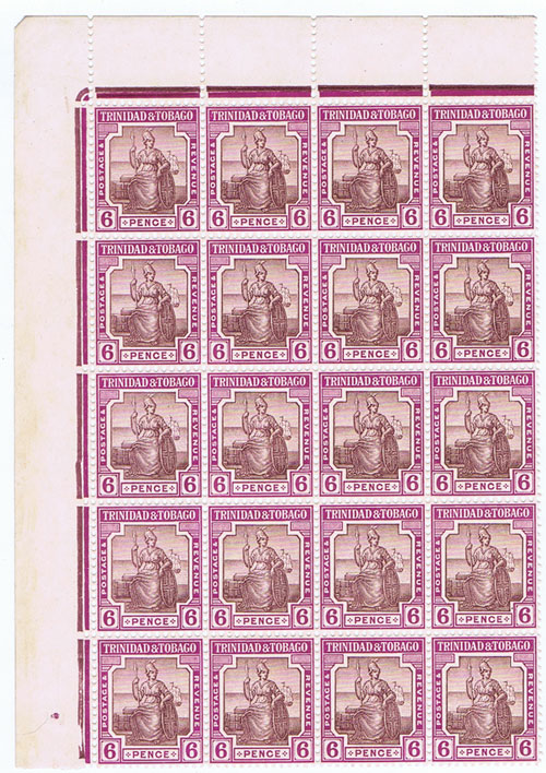 1921-2 Trinidad & Tobago 6d dull and bright purple (SG212)