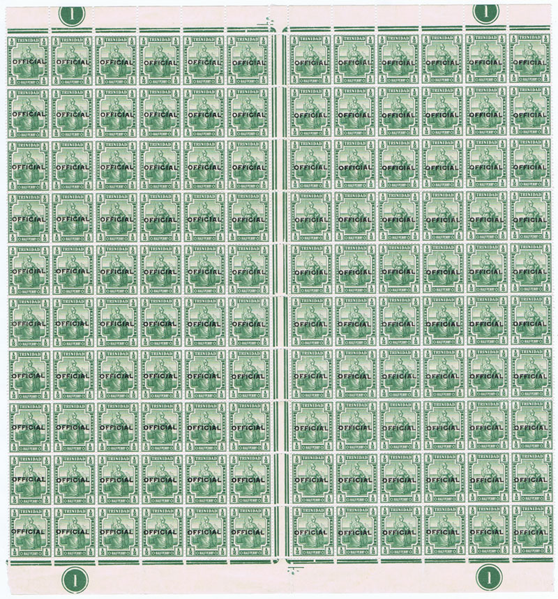 1910 Trinidad Official �d green (SG O10)