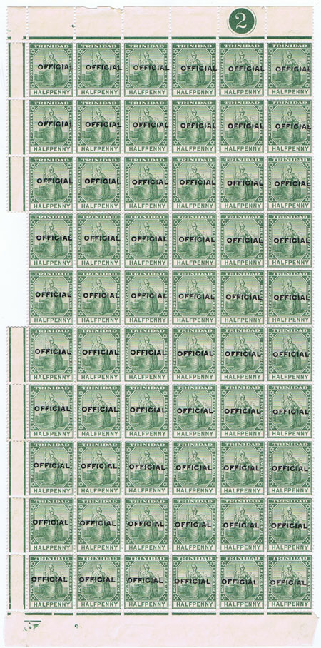 1909 Trinidad Official �d blue green (SG O8)