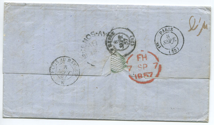 1857 (2 Aug) BUENOS-AYRES double arc on cover to France.