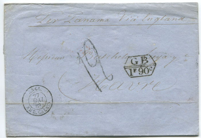 1867 (17 Apr) boxed GB 1F 90c accountancy mark on cover from Chile to France.