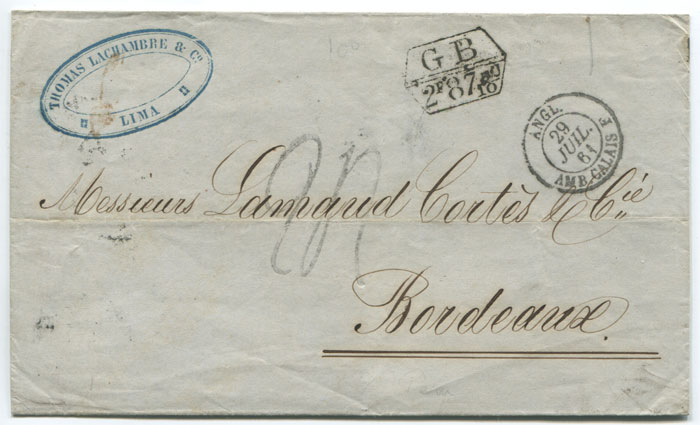 1861 (29 Jun) CALLAO double arc cds of the British Post Office in Peru