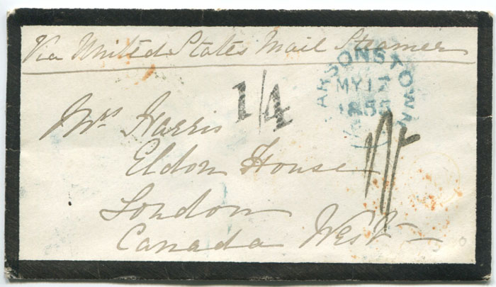 1855 (17 May) Canada 1/4 Currency applied on arrival at Quebec on cover from Parsonstown, Ireland.