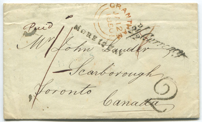 1850 (12 Jan) 2 1/2d Currency handstamp on cover to Canada