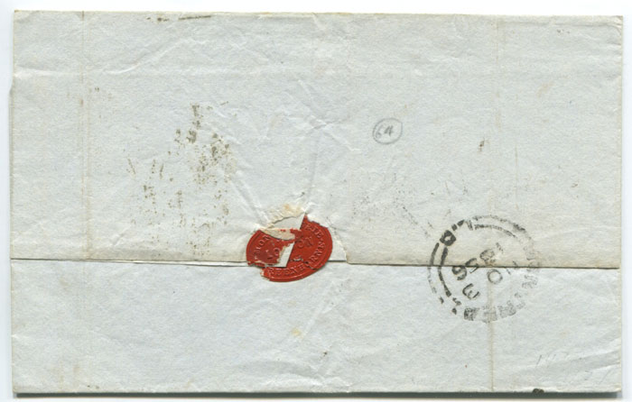 1856 (21 Oct)  7 � Cy handstamp on cover to Canada