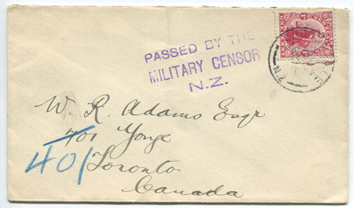 1916 (circa) PASSED BY THE MILITARY CENSOR N.Z. 3 line handstamp on cover to Canada.