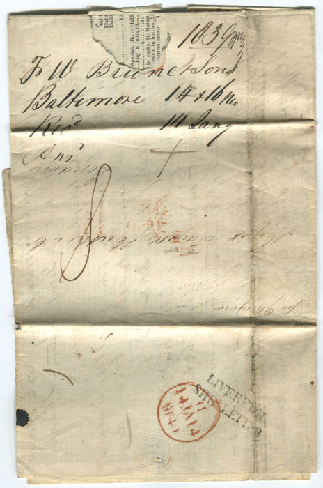 1840 LIVERPOOL SHIP LETTER on printed prices current from Baltimore.