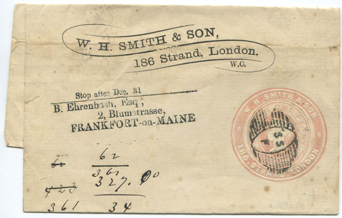 1890 (circa) W.H. SMITH & SON advertising ring on 1d postal stationery wrapper