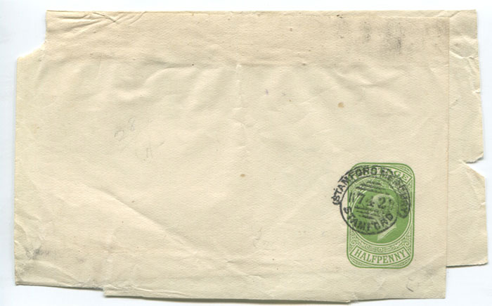 1905 (circa) STAMFORD MERCURY obliterator on �d postal stationery wrapper