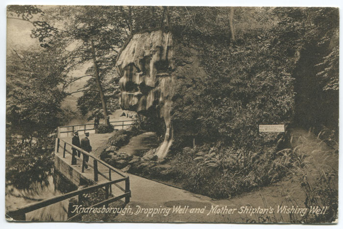 1913 KNARESBOROUGH skeleton cds on postcard to Leeds.