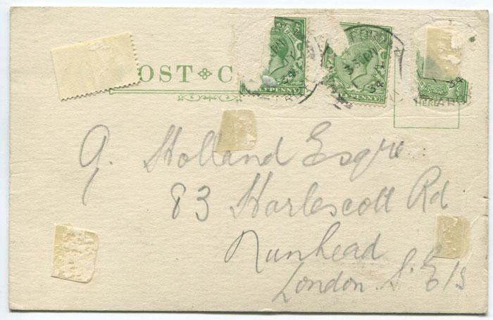 1934 London newspaper branch cancels on postcard