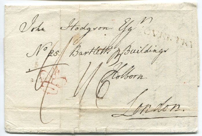 1799 COVENTRY handstamp and inspectors crown on EL to London.