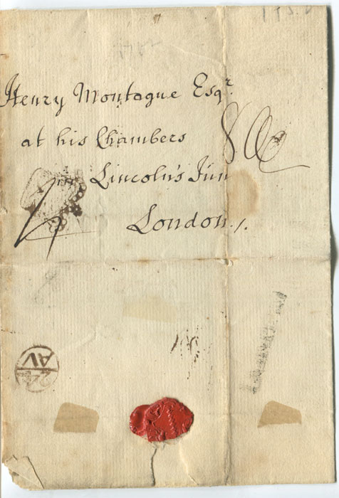 1752 (21 Aug) cover from Durham to London with fine inspector