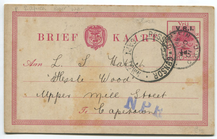 1901 PASSED CENSOR CAPE TOWN on Orange Free State postal stationery  �d card