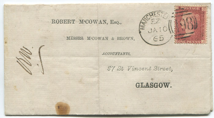 1865 (10 Jan) Manchester Spoon duplex on printed cover to Glasgow.