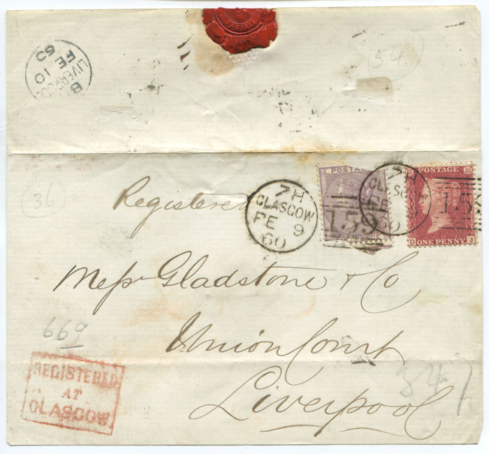 1860 (9 Feb) cover front with boxed