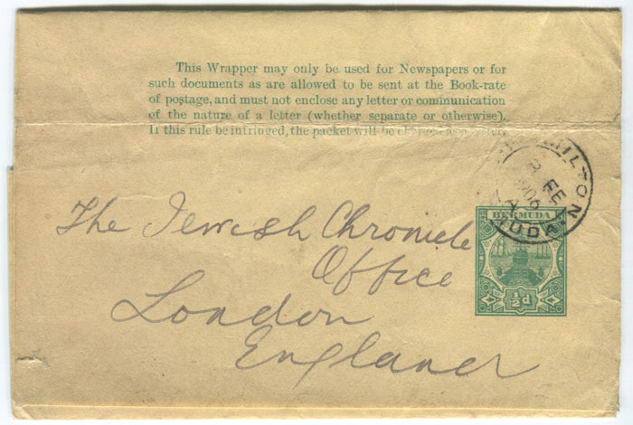 1903 Bermuda �d postal stationery wrapper
