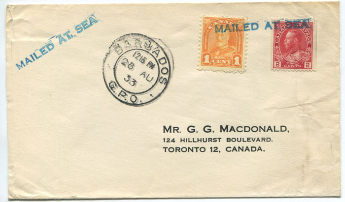 1933 MAILED AT SEA h/s applied on Lady Boat cover to Canada