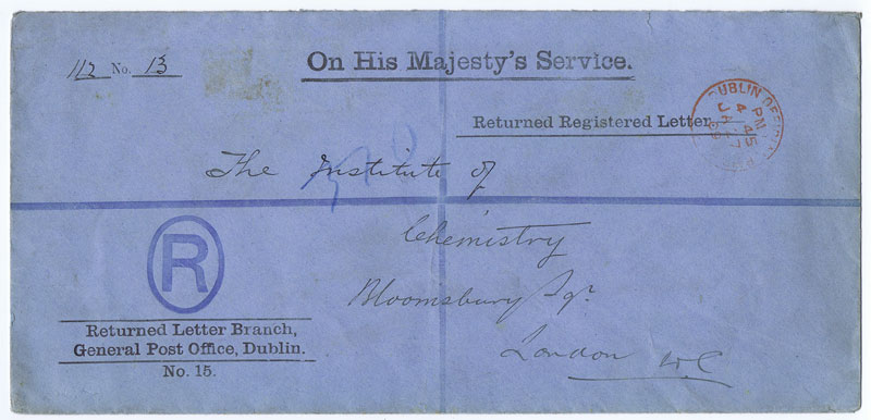 1909 Returned Letter Branch, General Post Office, Dublin