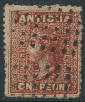 1862 Antigua 1d litho forgery.