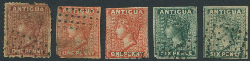 1862 Antigua 1d and 6d  litho forgeries.