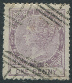 1874 Dominica 1d litho forgery.