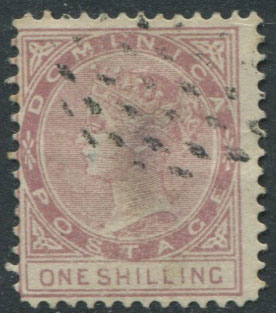 1874 Dominica 1/- litho forgery, perf 12�, used.