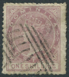 1874 Dominica 1/- litho forgery, rough perf 12�, used.