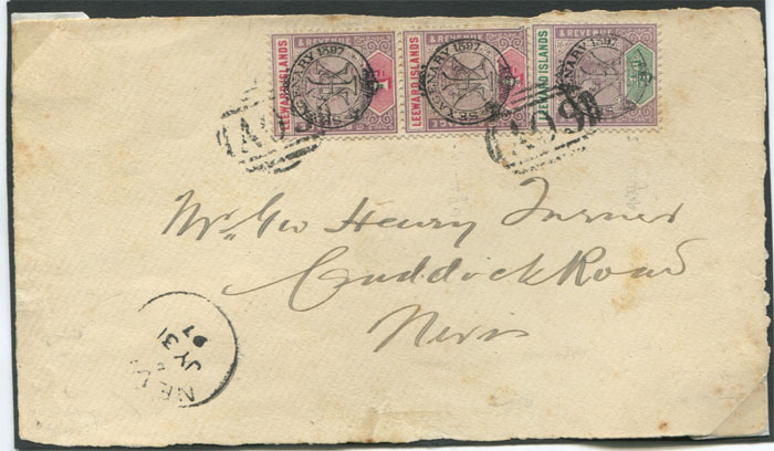 1897 Leewards Sexagenary �d and 1d pair on local cover front addressed to Nevis.