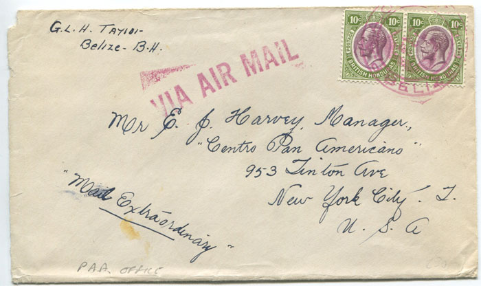 1935 P.A.A. OFFICE BELIZE T.R.D. cancel on airmail cover to U.S.A.