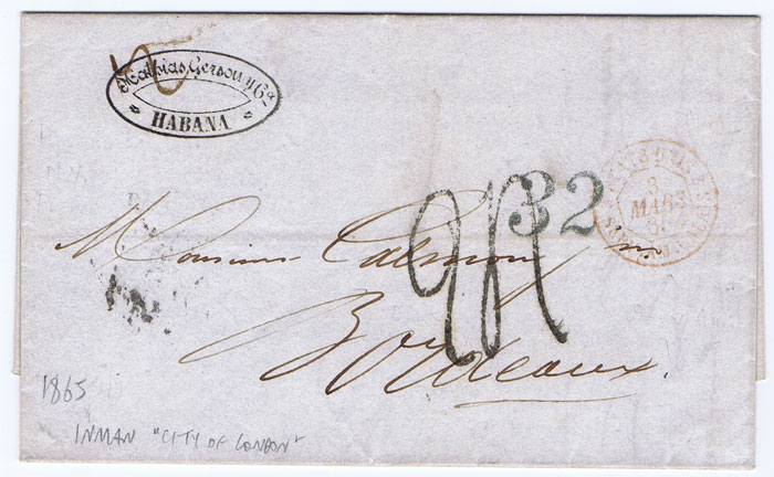 1865 (10 Feb) EL from Havana to Paris with scarce ETATS UNIS SERV AM CALAIS (Salles 15J)