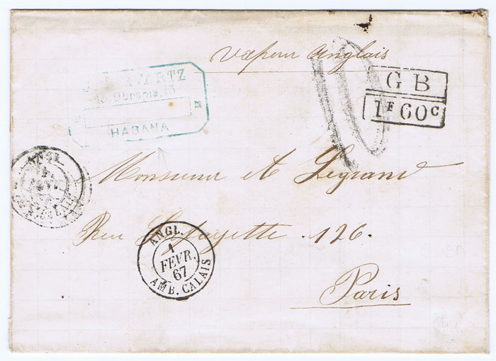 1867 (Jan) cover from Havana to Paris with boxed