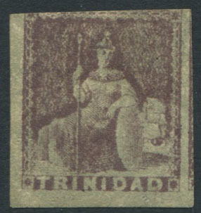 1851-5 Trinidad 1d purple brown, crude litho forgery