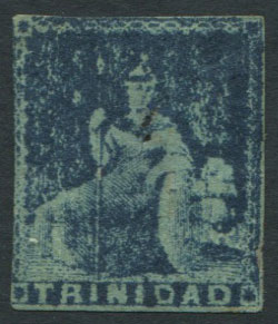 1851-5 Trinidad 1d blue, crude litho forgery