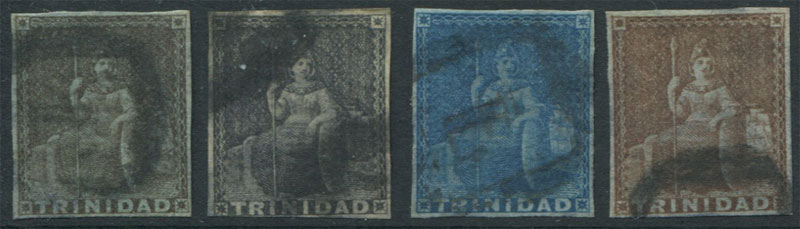1851-5 Trinidad 1d (3) and 1854-7 (1d) all with forged postmarks.