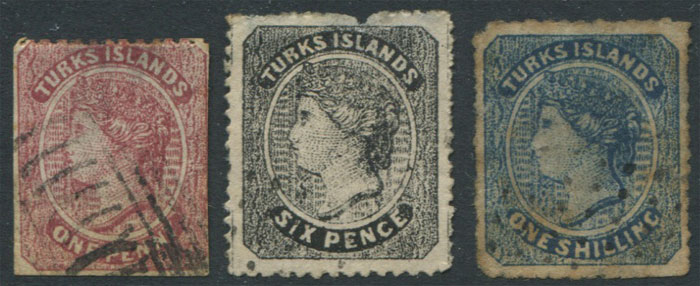 1867 Turks Is. 1d, 6d and 1/- crude litho forgeries