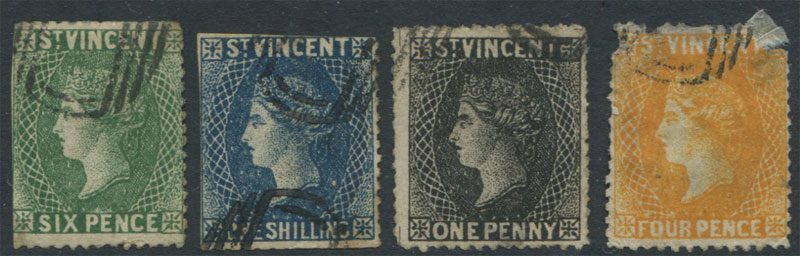 1862-9 St Vincent forgeries of 1d, 4d, 6d and 1/-.