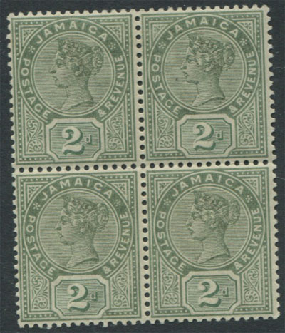 1889-91 Jamaica 2d (SG28), block of 4,