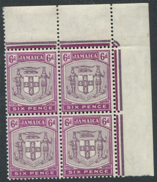 1905-11 Jamaica 6d Arms (SG44), corner block of 4,