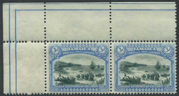 1919-21 Jamaica Mult CA, 3d and 4d in marginal pairs,