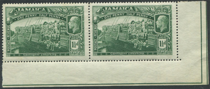 1919-21 Jamaica Mult CA, 1�d and 1/- in marginal pairs,
