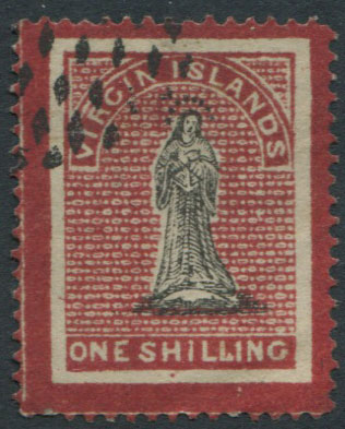 1867 Virgin Islands 1/- with crimson frames superimposed extending into margins (SG18),