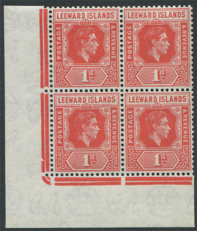 1938-51 Leewards 1d Die B, red (SG99c) block,