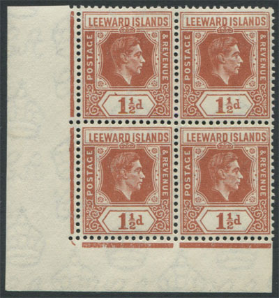 1938-51 Leewards 1�d chestnut (SG101) block,