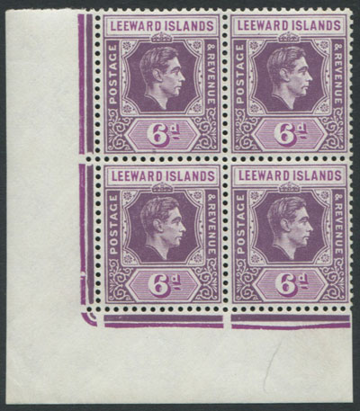 1938-51 Leewards 6d purple and deep magenta (SG109b) block,