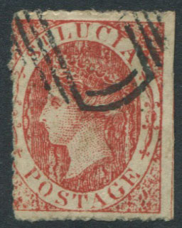 1864-76 St Lucia 1/- orange, a crude litho forgery