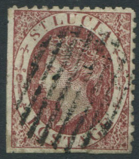 1860 St Lucia 1d rose, a crude litho forgery