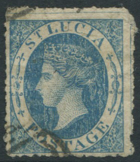 1860 St Lucia 4d blue, a crude litho forgery