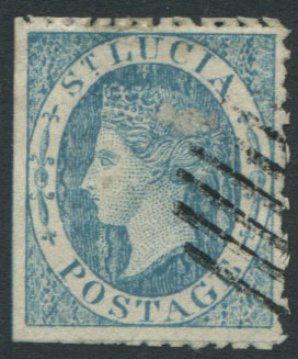 1860 St Lucia 4d pale blue, a litho forgery