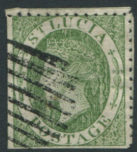 1860 St Lucia 6d green, a crude litho forgery